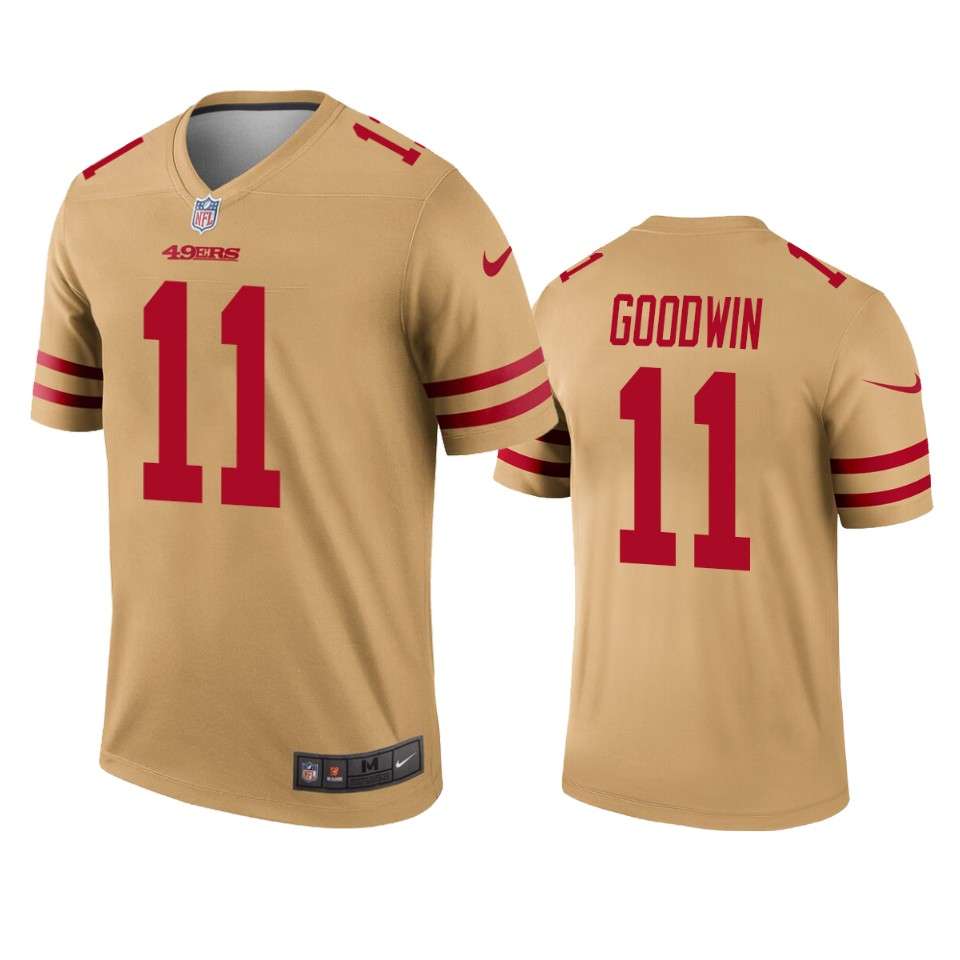 San Francisco 49ers Marquise Goodwin Gold Inverted Legend Jersey ...